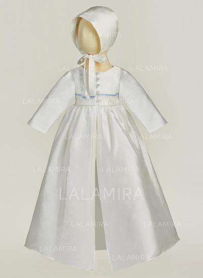 Cetim Decote V Vestidos de batismo do bebê com Manga comprida (2001217410)