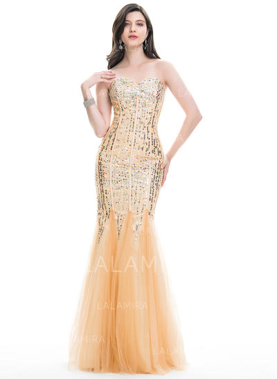 Luxuoso com Trompete/Sereia Tule Vestidos de baile (018113757)