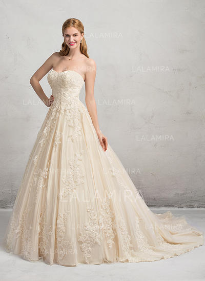 Chapel Train Ball-Gown Tulle Lace Modern Wedding Dresses Sleeveless (002083691)