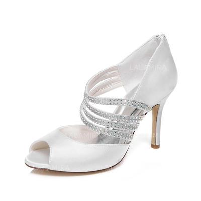 Women's Peep Toe Sandals Stiletto Heel Satin With Rhinestone Wedding Shoes (047205577)