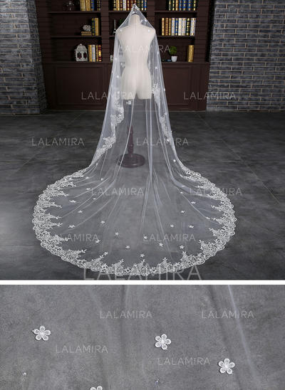 Cathedral Bridal Veils Tulle/Lace One-tier Oval With Lace Applique Edge Wedding Veils (006152033)