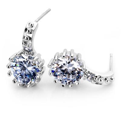 Earrings Zircon/Platinum Plated Pierced Ladies' Beautiful Wedding & Party Jewelry (011164806)