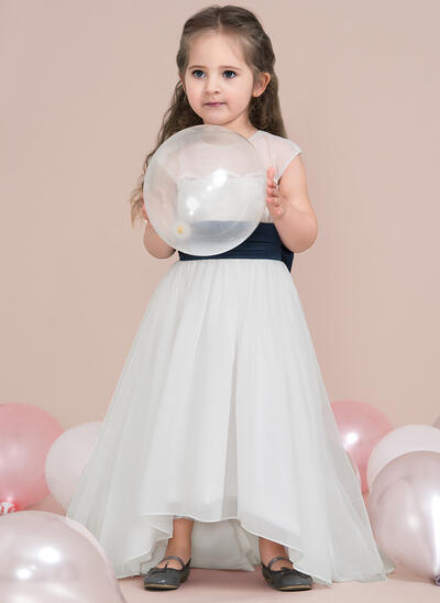 A-Line/Princess Asymmetrical Flower Girl Dress - Chiffon/Satin/Tulle Sleeveless Scoop Neck With Lace/Bow(s) (010115798)