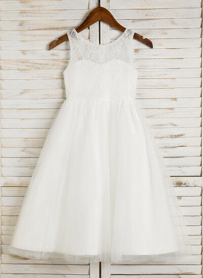 A-Line/Princess Tea-length Flower Girl Dress - Tulle/Lace Sleeveless Scoop Neck (010091710)