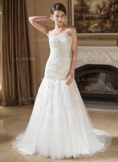 Beading Sleeveless Trumpet/Mermaid - Tulle Wedding Dresses (002004148)