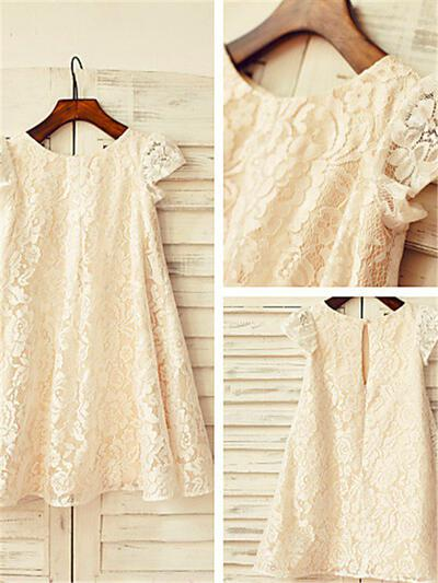 Scoop Neck A-Line/Princess Flower Girl Dresses Lace Pleated Short Sleeves Tea-length (010211911)