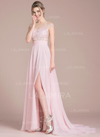 A-Line Illusion Sweep Train Chiffon Wedding Dress With Split Front (002120298)