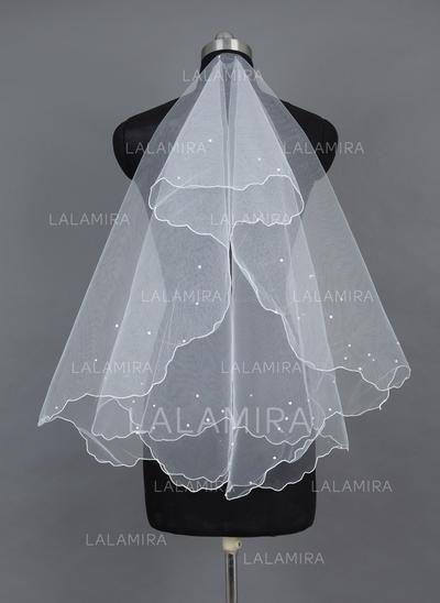 Yema del dedo velos de novia Tul Uno capa Estilo clásico con Recortada Velos de novia (006037906)