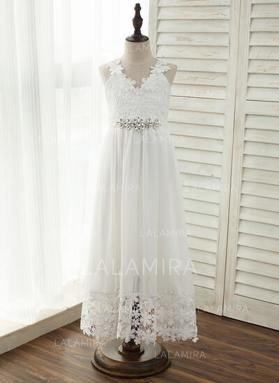 Vestidos princesa/ Formato A Longos Vestidos de Menina das Flores - Tecido de seda/Renda Sem magas Decote V com Renda/Strass (010141214)
