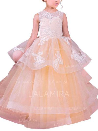Scoop Neck Ball Gown Flower Girl Dresses Organza Appliques Sleeveless Floor-length (010211794)
