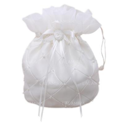 Nydelig Satin med Blomst/Imitation Pearl Brude Pung (012026337)