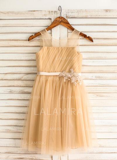 Tulle A-Line/Princess Appliques/Pleated/V Back Princess Flower Girl Dresses (010210150)
