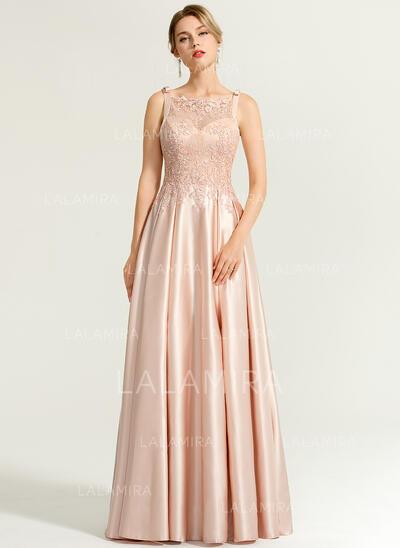 Vestidos princesa/ Formato A Decote quadrado Longos Cetim Vestido de festa com Beading lantejoulas Curvado (017167678)