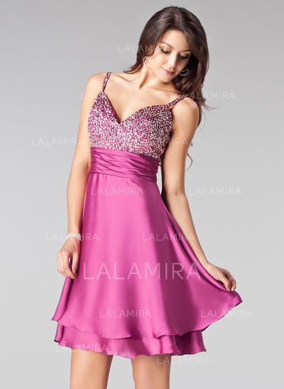 Empire Short/Mini Satin Chiffon Sweetheart Homecoming Dresses (022020831)