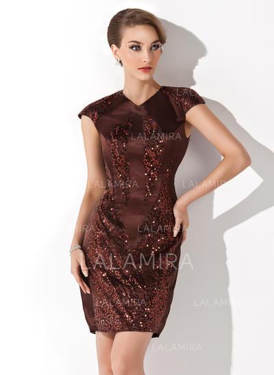 Sheath/Column V-neck Short/Mini Charmeuse Cocktail Dresses With Sequins (016008611)