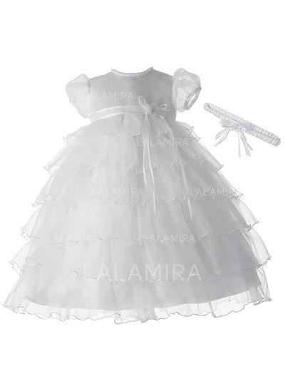 Tulle Col rond Brodé Robes de baptême bébé fille avec Manches courtes (2001216858)