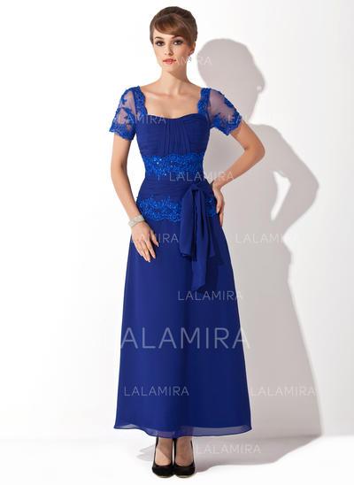 Corte A/Princesa Novio Hasta el tobillo Gasa Vestido de madrina con Cuentas Los appliques Encaje Lentejuelas Lazo(s) (008014546)