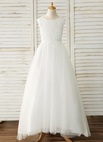 Ball Gown Sleeveless With Tulle/Lace Flower Girl Dresses (65597010183543)
