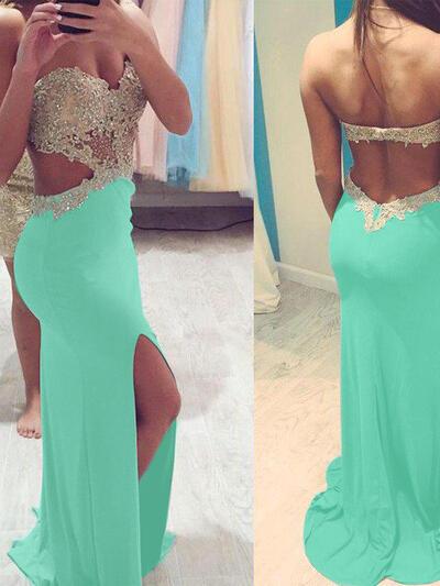 Sweetheart Beading Sheath/Column Jersey Prom Dresses (018210228)