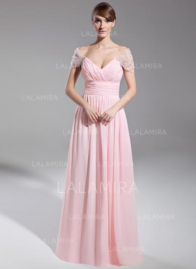 Gasa Sexi Vestidos de noche con Fuera del hombro (017014708)