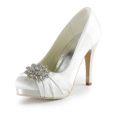 Women's Closed Toe Platform Pumps Cone Heel Satin With Rhinestone Wedding Shoes (047203202)