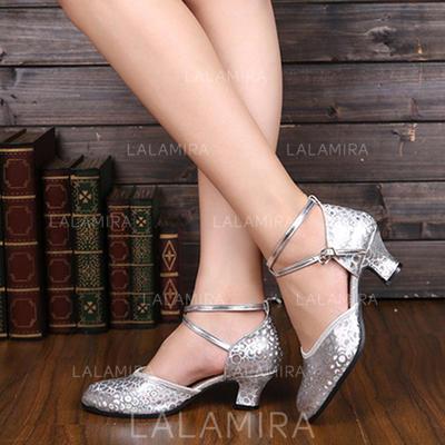 De mujer Sala de Baile Salón Cuero con Tira de tobillo Zapatos de danza (053113217)