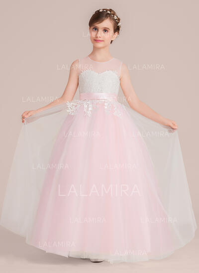 Ball Gown Floor-length Flower Girl Dress - Tulle/Lace Sleeveless Scoop Neck With Sash (010136593)
