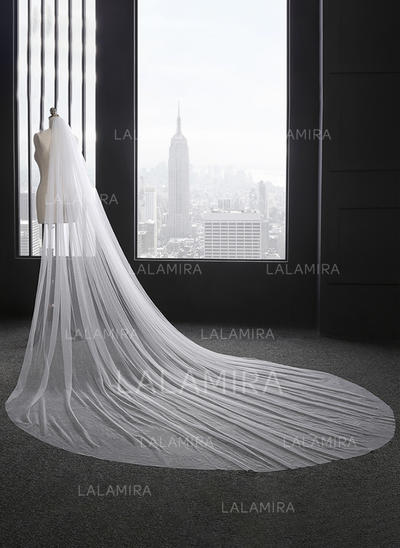 Cathedral Bridal Veils Tulle One-tier Oval With Cut Edge Wedding Veils (006152163)