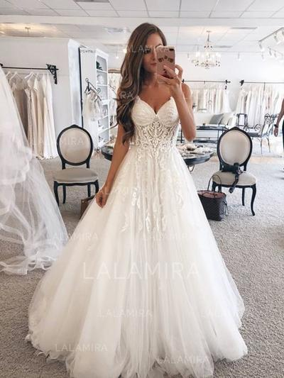 Modern Tulle Wedding Dresses With Regular Straps Lace (002218063)