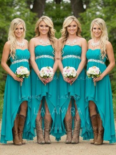 A-Line/Princess Sweetheart Asymmetrical Bridesmaid Dresses With Ruffle (007211569)