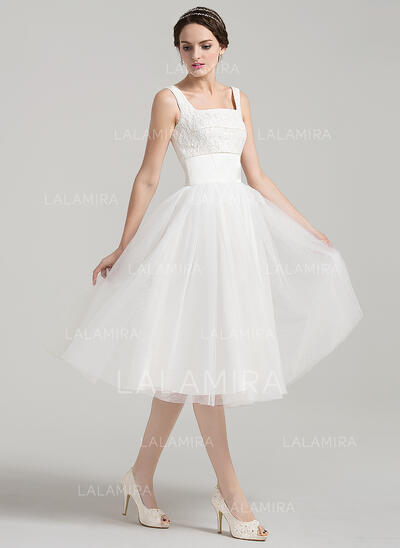 A-Line Square Neckline Knee-Length Tulle Lace Wedding Dress (002090167)