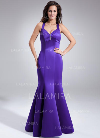 V-neck Floor-Length Satin Beautiful Bridesmaid Dresses (007197321)