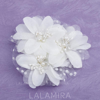 "Flowers & Feathers Wedding/Special Occasion/Casual/Outdoor Imitation Pearls/Satin/Tulle 3.94""(Approx.10cm) 3.15""(Approx.8cm) Headpieces (042153202)"