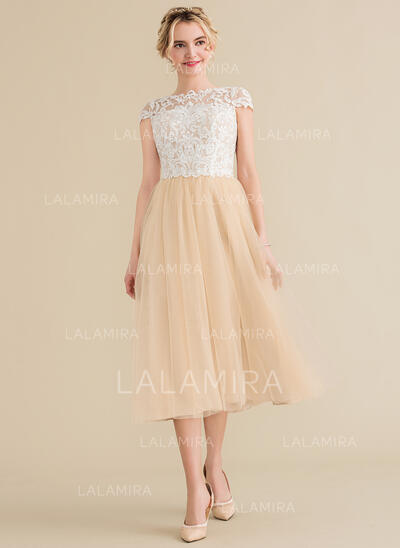 A-Line/Princess Scoop Neck Tea-Length Tulle Lace Bridesmaid Dress (007144769)