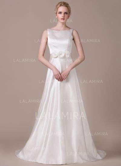 Delicado Satén Vestidos de novia con Corte A/Princesa Bola (002210619)