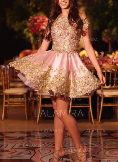 Appliques A-Line/Princess Short/Mini Satin Homecoming Dresses (022216344)