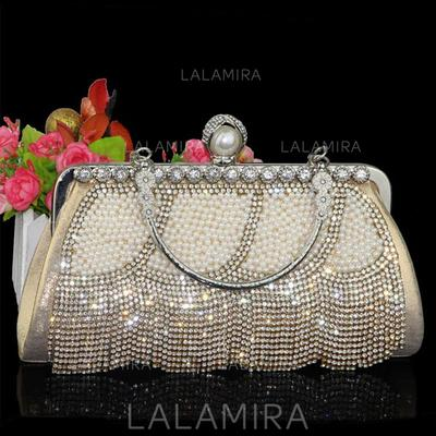 "Clutches/Wristlets Wedding/Ceremony & Party/Casual & Shopping Crystal/ Rhinestone/Polyester/Imitation Pearl Shining 9.45""(Approx.24cm) Clutches & Evening Bags (012186397)"