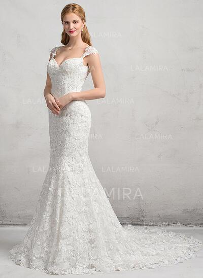 Trompete/Sereia Amada Cauda longa Renda Vestido de noiva (002083692)