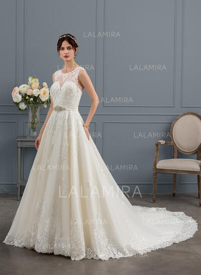 De Baile/Princesa Ilusão Trem real Tule Vestido de noiva com Beading lantejoulas (002153426)