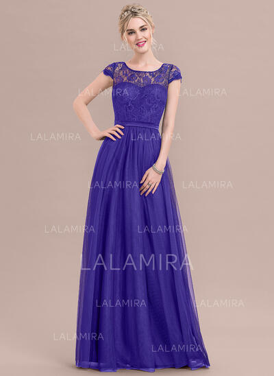 A-Line Scoop Neck Floor-Length Tulle Lace Bridesmaid Dress With Bow(s) (007116644)