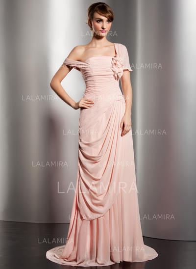 Sexy Chiffon A-Line/Princess Zipper Up Covered Button Evening Dresses (017014578)