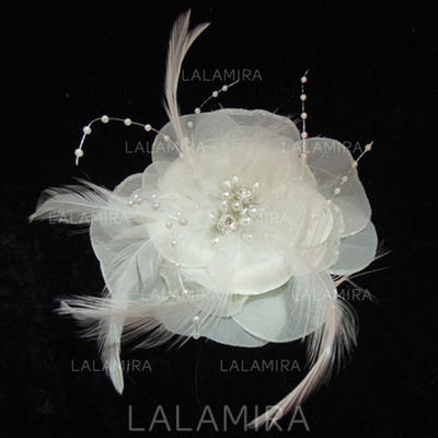 Feather/Imitation Pearls/Chiffon Fascinators Glamourous Ladies' Hats (196194936)