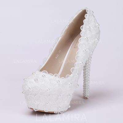 Women's Platform Pumps Stiletto Heel Leatherette With Flower Lace-up Wedding Shoes (047208400)