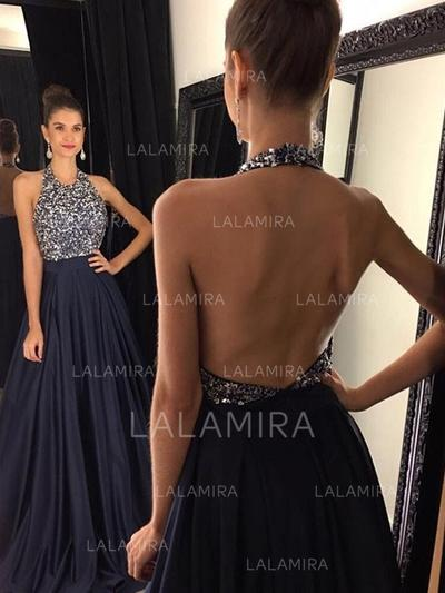 A-Line/Princess Halter Sweep Train Prom Dresses With Beading (018218487)