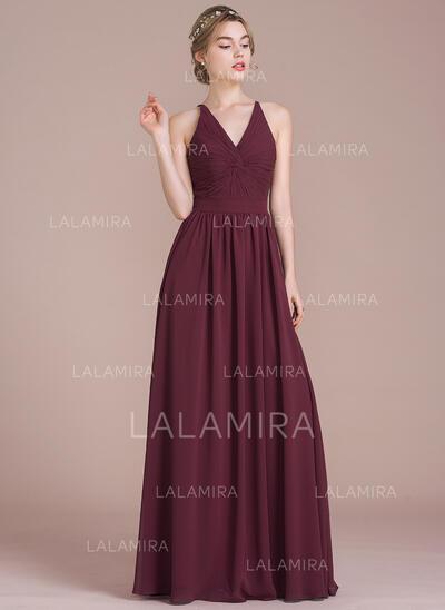 Vestidos princesa/ Formato A Decote V Longos Tecido de seda Vestido de madrinha com Pregueado (007105583)