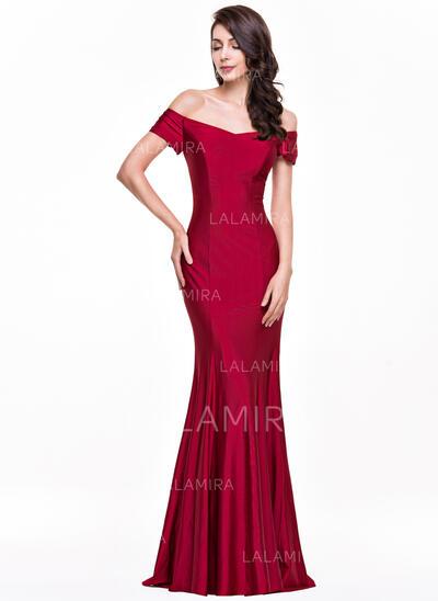 Trumpet/Mermaid Off-the-Shoulder Floor-Length Jersey Evening Dress (017065553)