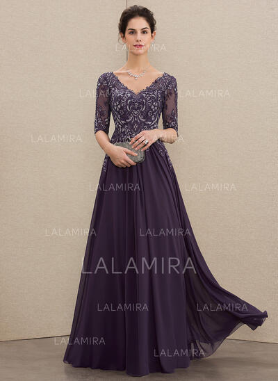 Corte A Decote V Longos Tecido de seda Renda Vestido de festa (017211398)