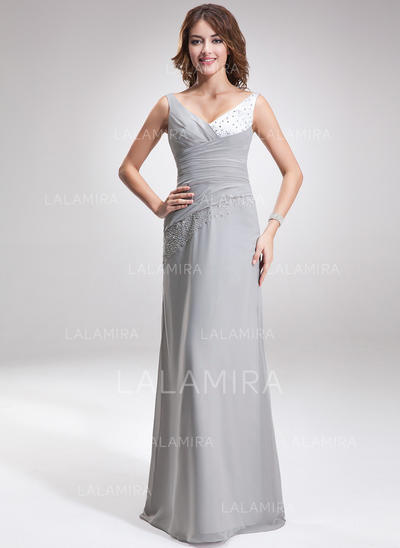 A-Line/Princess Chiffon Charmeuse Bridesmaid Dresses Ruffle Beading V-neck Sleeveless Floor-Length (007001107)