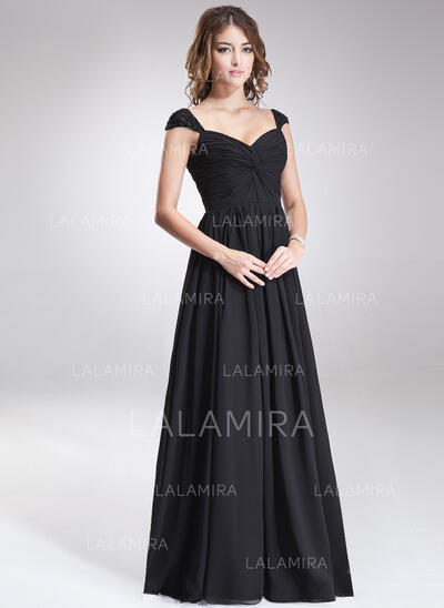 A-Line/Princess Sweetheart Floor-Length Chiffon Bridesmaid Dress With Ruffle Beading Sequins (007016866)
