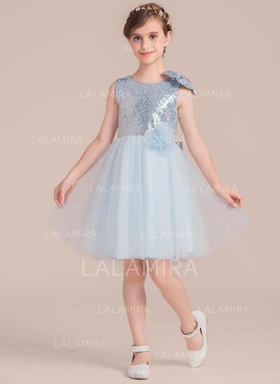 Vestidos princesa/ Formato A Coquetel Vestidos de Menina das Flores - Tule/Lantejoulas Sem magas Decote redondo com fecho de correr/Curvado (010136614)